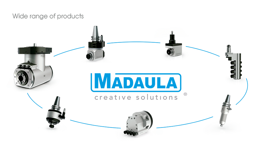 Madaula wide range of products: Angle Heads, Big Angle Heads, Live tools for Swiss type lathes, Live tools for CNC lathes, Spindle Speeders, High Frequency Spindles, Multi-spindle heads.